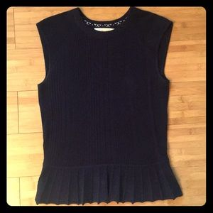 Tory Burch Ribbed Silk & Cashmere Knit Top